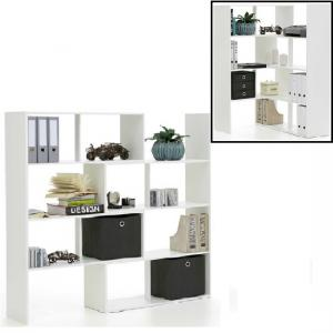 Stretch Wooden Bookcase And Shelving Unit In White