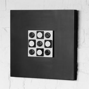 Black Wall Art Raised Silver Glass Discs