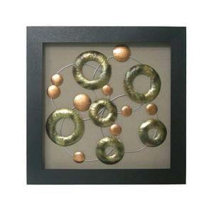 Framed Copper Circles Wall Art