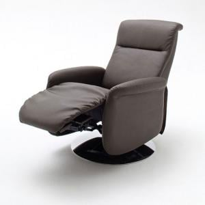 Almeida Rotating Reclining Chair In Brown Leather And Metal Base_2