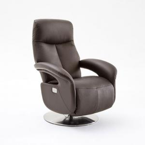 Limburg Recliner Chair In Brown Leather And Stainless Steel Base
