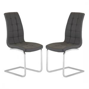 Torres Dining Chair In Grey Faux Leather in A Pair