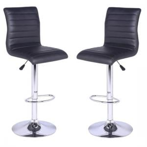 Ripple Bar Stools In Black Faux Leather in A Pair