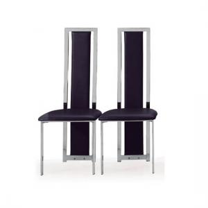 Nicole Dining Chair In Black Faux Leather in A Pair