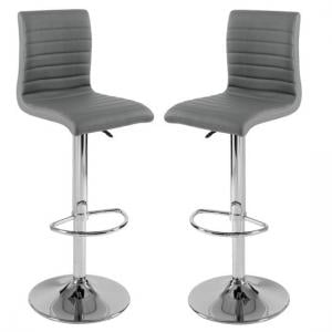 Ripple Bar Stools In Charcoal Grey Faux Leather in A Pair