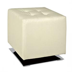 Beto Square Stool In Cream Faux Leather With Chrome Base