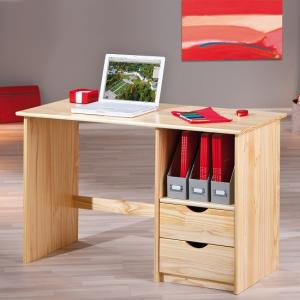 Croma Wooden Computer Desk In Natural With 2 Drawers