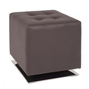 Beto Square Stool In Brown Faux Leather With Chrome Base