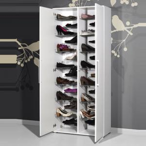 Carlucci Shoe Storage Cabinet in White Wood Finish