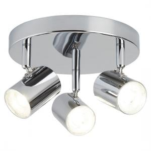 Rollo Three Light Chrome Spotlight Plate With Cylinder Head