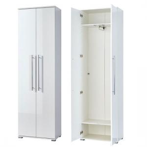 Inside Hallway Wardrobe In White Wood And Gloss Fronts
