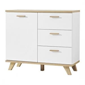 Ohio Sideboard In White And Solid Oak With 1 Door And 3 Drawers