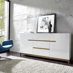 Riva Sideboard In White Gloss With 3 Drawers And 2 Doors