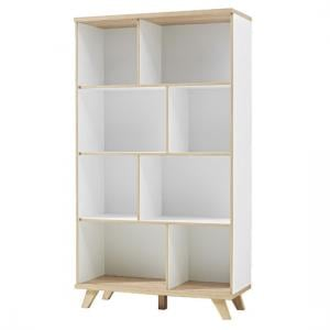 Ohio Shelving Unit In White And Solid Oak With 8 Shelf