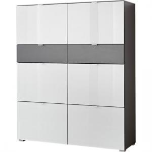 Alameda Shoe Cabinet In Anthracite And White Glass Front