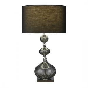 Beautiful Smokey Ribbed Glass Base With Black Drum Shade