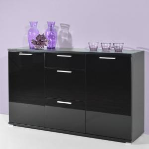 Almeria Sideboard In Black High Gloss With 2 Doors And 3 Drawers