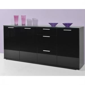 Almeria Sideboard In Black High Gloss With 3 Doors And 3 Drawers