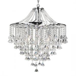 Dorchester 5 Lamp Chrome Ceiling Light With Crystal Buttons