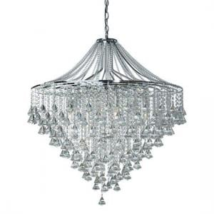 Dorchester 7 Lamp Chrome Ceiling Light With Crystal Buttons