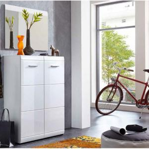 Adrian Wall Mount Shoe Cabinet With Mirror In White Gloss Fronts