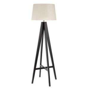 Dark Wood Floor Lamp With Cream Linen Shade And Foot Switch