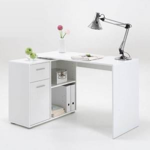 Albea Corner Wooden Computer Desk In White