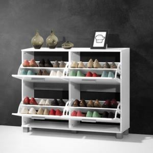 Modern Shoe Storage Cabinet In White With 4 Doors_3