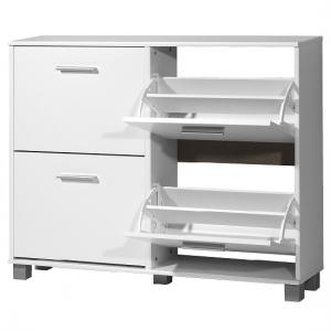 Modern Shoe Storage Cabinet In White With 4 Doors_2