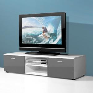 Modern Low Board LCD TV Stand In White And 2 Doors In Grey Gloss_1