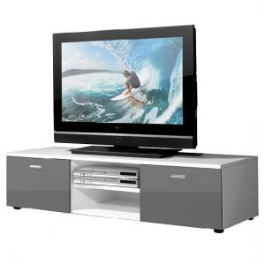 Modern Low Board LCD TV Stand In White And 2 Doors In Grey Gloss_2
