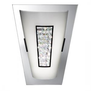 LED White Glass Wall Light With Glass Crystal In Center