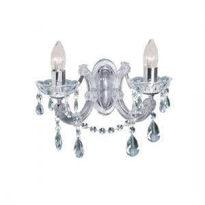 Marie Therese 2 Lamp Chrome Crystal Wall Light