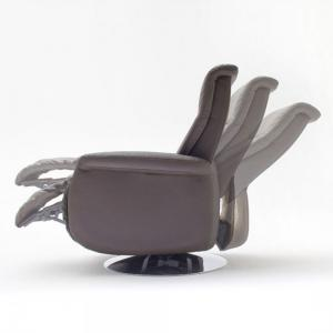 Almeida Rotating Reclining Chair In Brown Leather And Metal Base_3