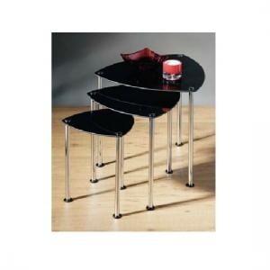 3pc Nesting Tables In Black Glass And Chrome