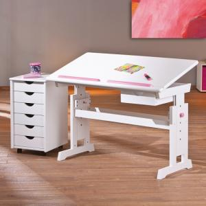 Berito Children Computer Desk In White With Pink And Blue Alter_4