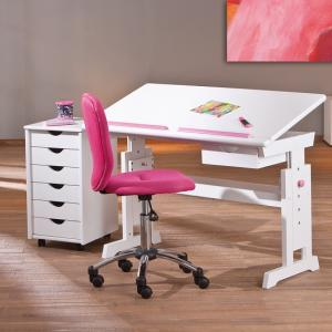 Berito Children Computer Desk In White With Pink And Blue Alter_5
