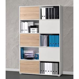 Slide Shelving Unit In White And Sonoma Oak With 5 Sliding Door