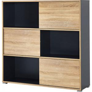 Slide Shelving Unit In Anthracite With 3 Oak Sliding Door