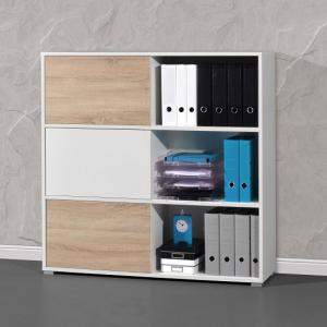 Slide Shelving Unit In White And Sonoma Oak With 3 Sliding Door