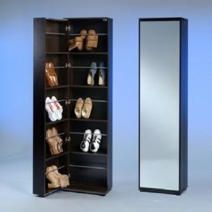 Wooden Shoe Cupboard With Full Mirror In Mocha