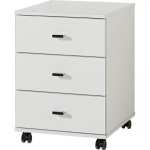 Montreal Office Cabinet In White With 3 Drawer And Rollers