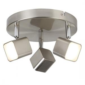 Quad Satin Silver Head Spot Plate With Three Sqaure LED
