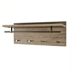 Pablo3 Wall Mounted Coat Rack In Dark Oak With 4 Hooks