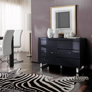 Sydney Small Sideboard In Gloss Black With 3 Drawers And 1 Door