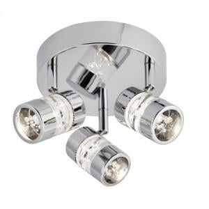 Triple Led Round Spot Light In Chrome With Bubble Effect