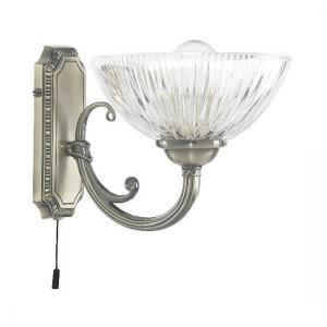 Windsor II Antique Brass Wall Light With Clear Ribbed Glass Shad
