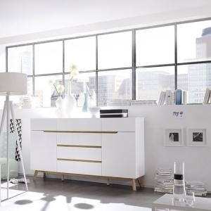 Merina Sideboard In Matt White And Oak With 6 Drawers And 2 Door