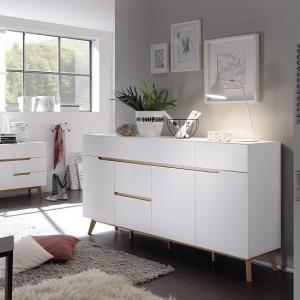 Merina Modern Sideboard In Matt White And Oak With 3 Doors