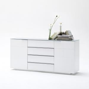 Canberra Sideboard In Glass Top And White High Gloss With 2 Door